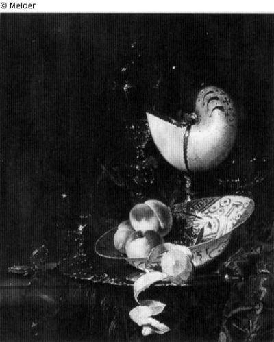 Alles ist vergänglich auch die reich verzierten Prunkschalen und exotischen Früchte zeichneten Willem Kalfs Stillleben aus, die einen Einblick in den Überseehandel der